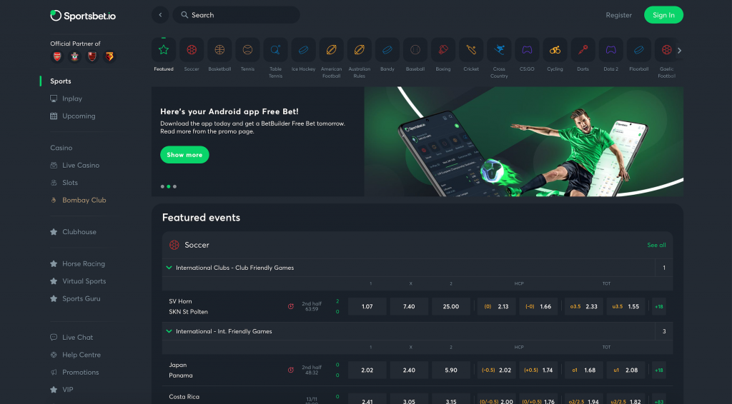 Sportsbet homepage